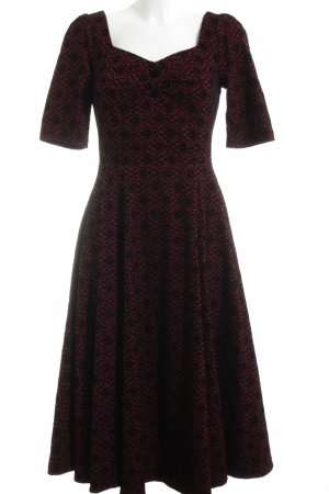 Collectif Kurzarmkleid rot-schwarz grafisches Muster Vintage-Look