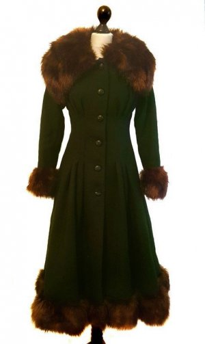 Collectif Pearl Coat Mantel grün Pinup Retro Vintage
