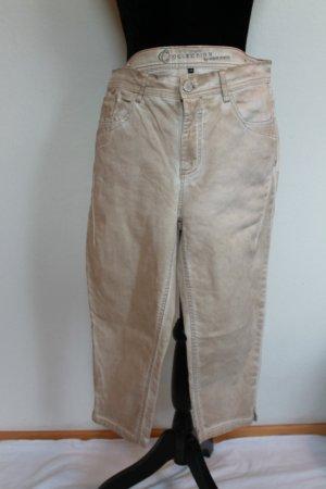 Pantalon 3/4 jaune clair-doré coton