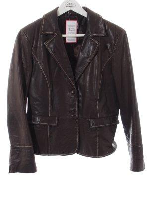 Collection Lederjacke schwarzbraun-weiß schlichter Stil
