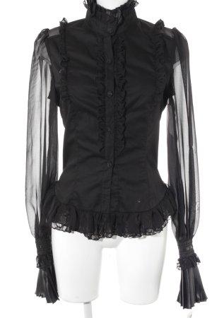Collection Blusa con volantes negro Paris-Look