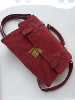 *College Satchel* Briefcase-Tasche, dunkelrot, Samt, goldene Details