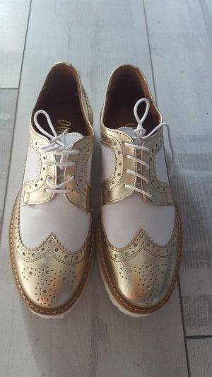 College Schuh mit budapester Nähten von Ovye in weiss/gold Gr. 37 NEU mit Etikett