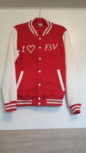 College Jacket brick red-white cotton