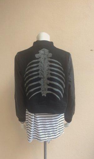 Collegejacke mit Skelettaufdruck Gr. S/M Shampalove Wolle Kunstleder gothic