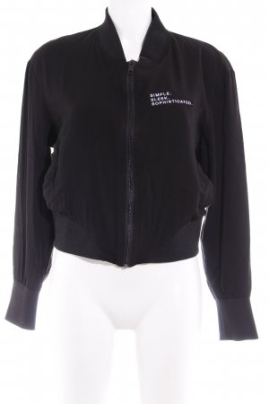 College Jacket black-white embroidered lettering skater style