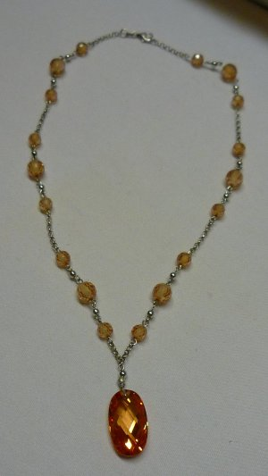 Collier Necklace silver-colored-cognac-coloured metal