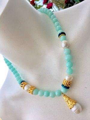 Collier Amazonite Barock Perlen Azurite Anhänger
