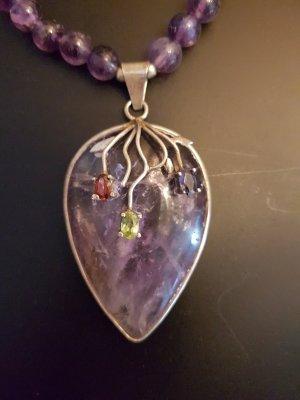 Collier aus Amethyst Stein mit zirkonia Steinen