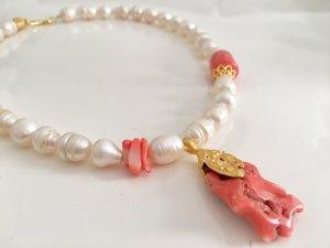 Collier Barock Perlen 10-12mm Koralle Anhänger Koralle Nugget