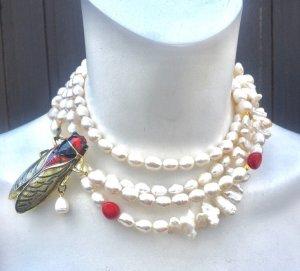 Collier Barock Perlen Süßwasserperlen Koralle Anhänger Käfer