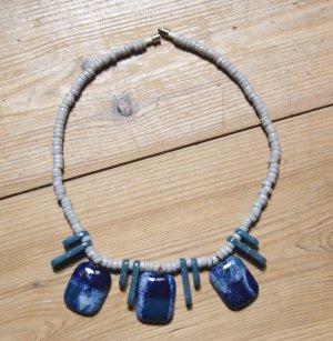 Collier Blau Ethno Keramik Kette