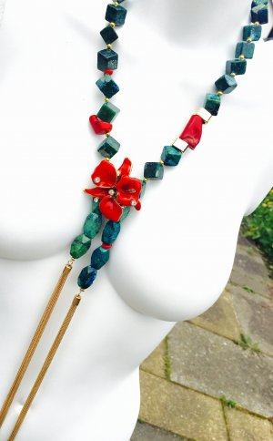 Collier Chrysocolla Koralle Blume Design by Versace