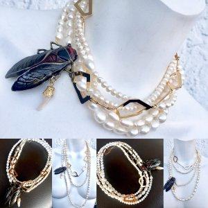 Collana di perle bianco sporco-oro