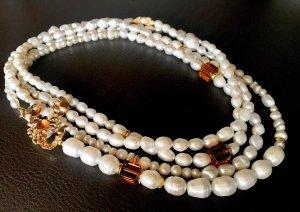 Collier Designer Kette Barock Perlen Süßwasserperlen Anhänger Skorpion