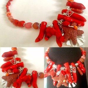 Collier Designer Kette Koralle Achat Jade Jaspis