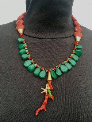Collier Designer Kette Smaragd Koralle Seestern