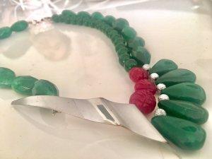 Collier Designer Kette Smaragd Rubin Jade Anhänger Vintage