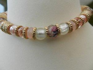 Collier Elegance,Perlenkette Charms Kette - Edelstahl Rosa, Gold und Rosé - neu