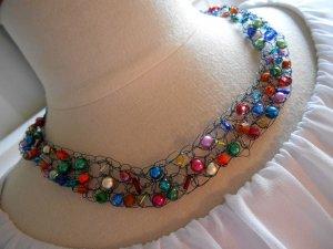 Collier Handarbeit Unikat bunte Strasssteine & Perlen