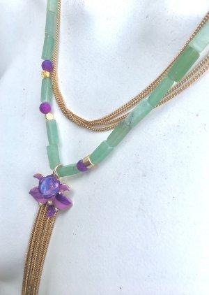 Collier Jade Achat Anhänger Vintage Versace Orchidee