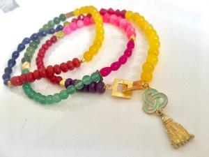 Collier Jade Multicolor Anhänger Knebelverschluss