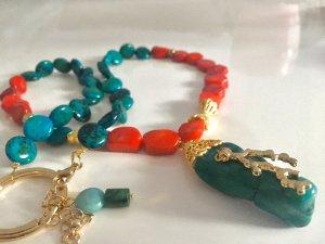 Collier Kette Koralle Chrysocolla Anhänger grüne Koralle