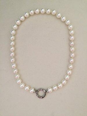 Collier, kurze Perlenkette mit großen weißen Perlen