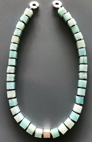 Collier Necklace baby blue-silver-colored real silver