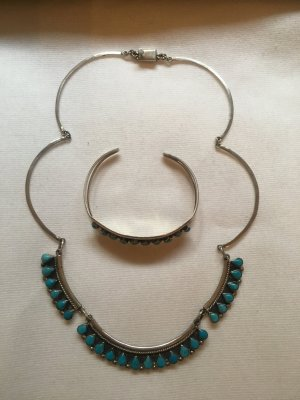 Collier Necklace silver-colored-light blue