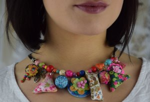Collar estilo collier multicolor