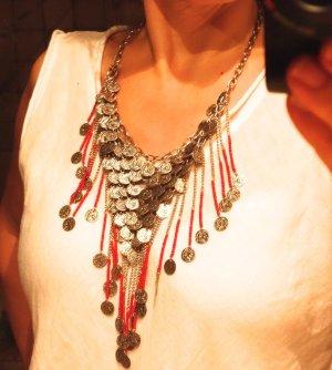 Collar estilo collier color plata-rojo metal