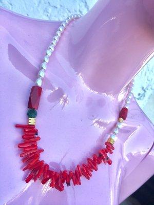 Collier Perlen Koralle Aventurin