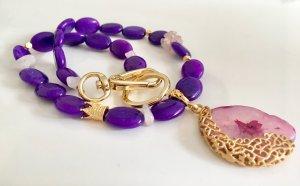 Collier Purple Jade Rosenquarz Anhänger Botswana Achat