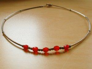 Collar estilo collier color plata-rojo ladrillo