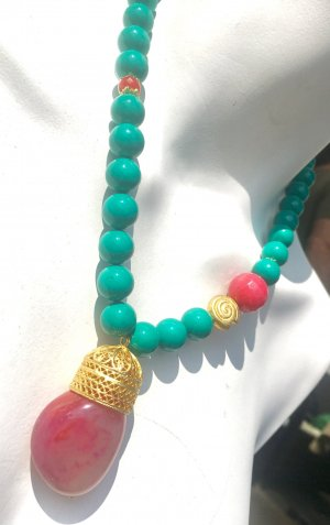 Collier Tridacna Shell Achat Jade Anhänger Madagaskar Achat