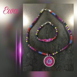 Collier blauw-violet Gemengd weefsel