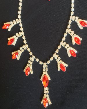 Collier rood-zilver