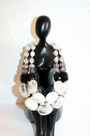 Collierkette Kette Perlen Stein Weiß Rose Schwarz