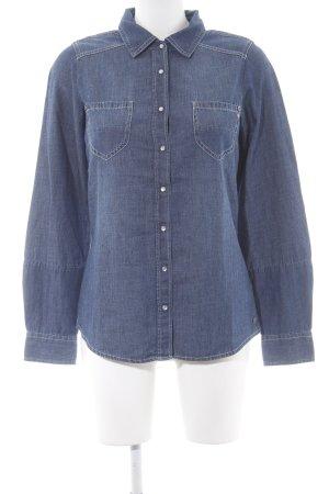 Colorado Denim Denim Shirt dark blue-slate-gray weave pattern casual look