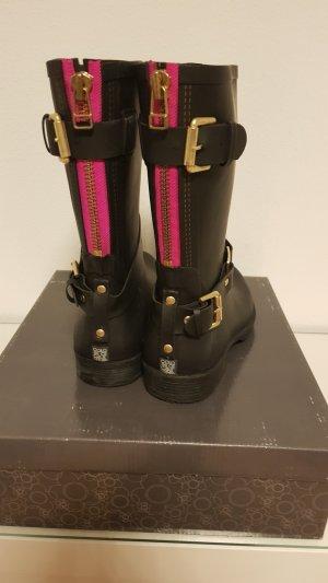 Botas de agua negro-rosa