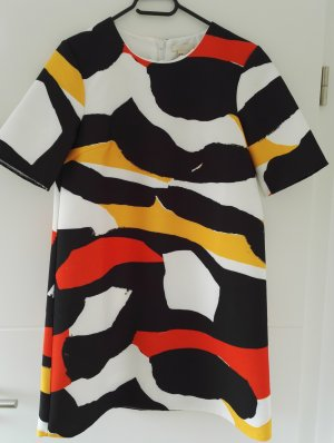 Colour-Blocking-Kleid, Sommerkleid, in weiß, dunkelblau, senfgelb, orange-rot
