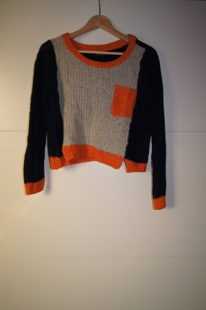 Colourblocked Kurzpullover, Cropped Pulli, Strickpullover in Orange, Beige, Blau