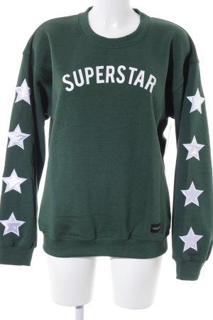 Colourful Rebel Oversized Shirt weiß-waldgrün platzierter Druck
