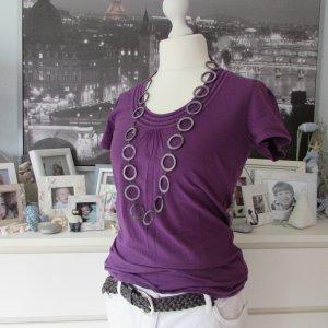 Colours of Africa * %Summer Sale% Süßes Stretch T-Shirt * lila Häkel Ausschnitt * 40/42