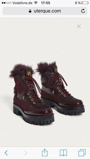 """Combat Boots, bordeaux, Gr. 38 Leder-/Wildleder mit Fell *Neu* """"Uterqüe"""""""