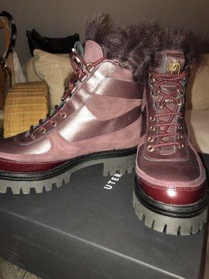 """Combat Boots Gr. 38 """"Uterqüe"""" Gr. 38 Bordeaux"""