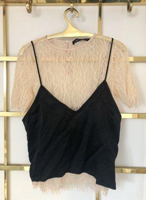 Zara Top di merletto nero-rosa pallido