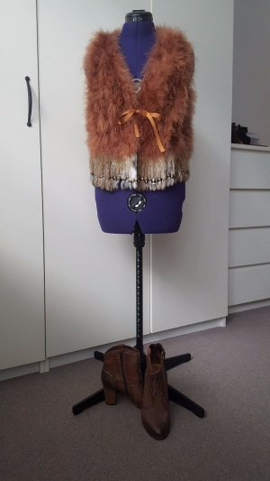 Combo- Flare Brugg ankle boots, size 37 and ostrich feather vest, size S