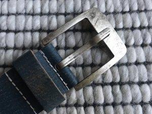 Cowboysbelt Lederen riem staalblauw-leigrijs Leer
